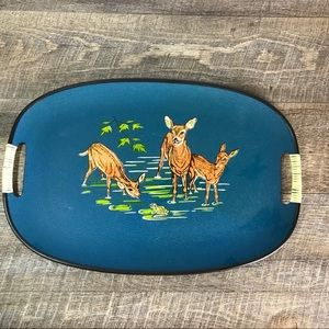 Vintage MCM Serving Tray Deer Frog 16 x 10 inches